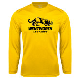 Performance Gold Longsleeve Shirt-Wentworth Leopards Stacked Leopard