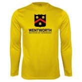 Performance Gold Longsleeve Shirt-Shield Logo