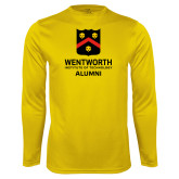 Performance Gold Longsleeve Shirt-Shield Alumni logo