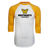 White/Gold Raglan Baseball T-Shirt-W Wentworth Leopards Stacked