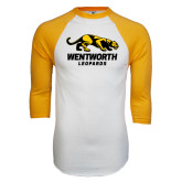 White/Gold Raglan Baseball T-Shirt-Wentworth Leopards Stacked Leopard