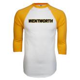 White/Gold Raglan Baseball T-Shirt-Wentworth