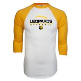 White/Gold Raglan Baseball T-Shirt-Baseball Seams Stacked Design