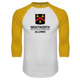 White/Gold Raglan Baseball T Shirt-Shield Alumni logo