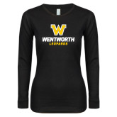 Ladies Black Long Sleeve V Neck T Shirt-W Wentworth Leopards Stacked