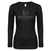 Ladies Black Long Sleeve V Neck T Shirt-Official Logo Glitter