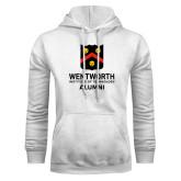 White Fleece Hoodie-Shield Alumni logo