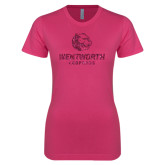 Ladies SoftStyle Junior Fitted Fuchsia Tee-Official Logo Glitter