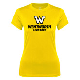 Ladies Syntrel Performance Gold Tee-W Wentworth Leopards Stacked