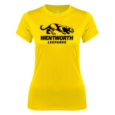 Ladies Syntrel Performance Gold Tee-Wentworth Leopards Stacked Leopard