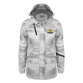Ladies White Brushstroke Print Insulated Jacket-W Wentworth Leopards Stacked