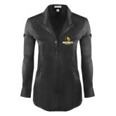 Ladies Red House Black Herringbone Non Iron Long Sleeve Shirt-Official Logo