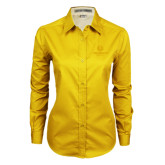 Ladies Gold Twill Button Down Long Sleeve-Official Logo Tone