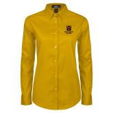 Ladies Gold Twill Button Down Long Sleeve-Shield Logo Wentworth Alumni
