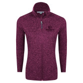 Dark Pink Heather Ladies Fleece Jacket-Official Logo Tone