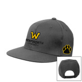 Charcoal Flat Bill Snapback Hat-W Wentworth Leopards Stacked