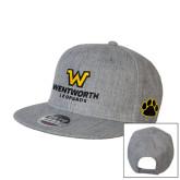 Heather Grey Wool Blend Flat Bill Snapback Hat-W Wentworth Leopards Stacked