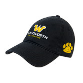 Black Twill Unstructured Low Profile Hat-W Wentworth Leopards Stacked