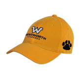 Gold Twill Unstructured Low Profile Hat-W Wentworth Leopards Stacked