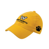 Gold Flexfit Mid Profile Hat-W Wentworth Leopards Stacked