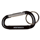 Black Carabiner with Split Ring-Wentworth Engraved
