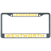 Metal License Plate Frame in Black-Leopards