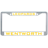 Metal License Plate Frame in Chrome-Leopards