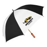 62 Inch Black/White Umbrella-Wentworth Leopards Stacked Leopard