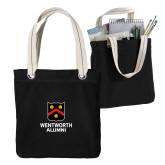 Allie Black Canvas Tote-Shield Logo Wentworth Alumni
