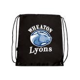 Black Drawstring Backpack-Wheaton Lyons - Official Logo
