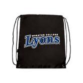 Black Drawstring Backpack-Wheaton College Lyons Wordmark