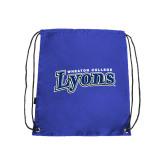 Royal Drawstring Backpack-Wheaton College Lyons Wordmark