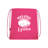Pink Drawstring Backpack-Wheaton Lyons - Official Logo