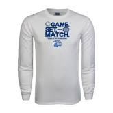 White Long Sleeve T Shirt-Game Set Match - Tennis Design