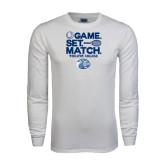 White Long Sleeve T Shirt-Game Set Match - Tennis Design