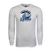 White Long Sleeve T Shirt-Wheaton College Lyons - Lyon Head