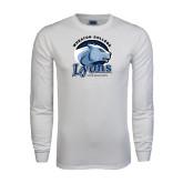 White Long Sleeve T Shirt-Wheaton College Lyons - Lyon Head