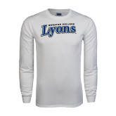 White Long Sleeve T Shirt-Wheaton College Lyons Wordmark