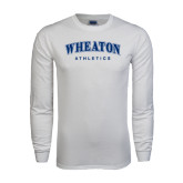 White Long Sleeve T Shirt-Arched Wheaton College Athletics