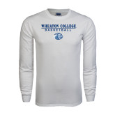 White Long Sleeve T Shirt-Basketball w/ Lyon Head