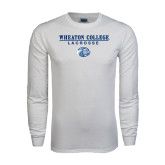 White Long Sleeve T Shirt-Lacrosse w/ Lyon Head