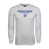 White Long Sleeve T Shirt-Lacrosse w/ Lyon Head