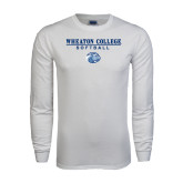 White Long Sleeve T Shirt-Softball w/ Lyon Head