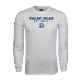 White Long Sleeve T Shirt-Softball w/ Lyon Head