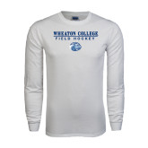 White Long Sleeve T Shirt-Field Hockey w/ Lyon Head