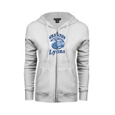 ENZA Ladies White Fleece Full Zip Hoodie-Wheaton Lyons - Official Logo