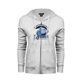 ENZA Ladies White Fleece Full Zip Hoodie-Wheaton College Lyons - Lyon Head