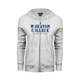 ENZA Ladies White Fleece Full Zip Hoodie-Wheaton College Athletics