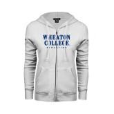 ENZA Ladies White Fleece Full Zip Hoodie-Wheaton College Athletics
