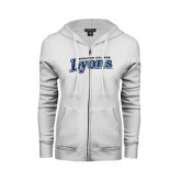 ENZA Ladies White Fleece Full Zip Hoodie-Wheaton College Lyons Wordmark